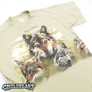 VTG 90s All Over Print Wolf T Shirt Single stich